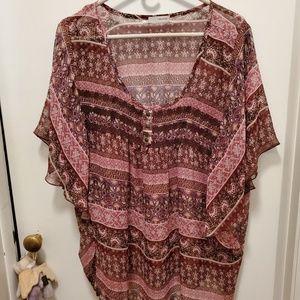 Poncho type flowy blouse